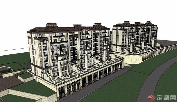 歐式風格詳細的多層商業住宅樓su模型