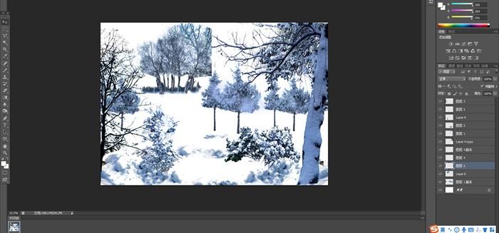 雪景植物園林景觀中后期制作素材psd(2)