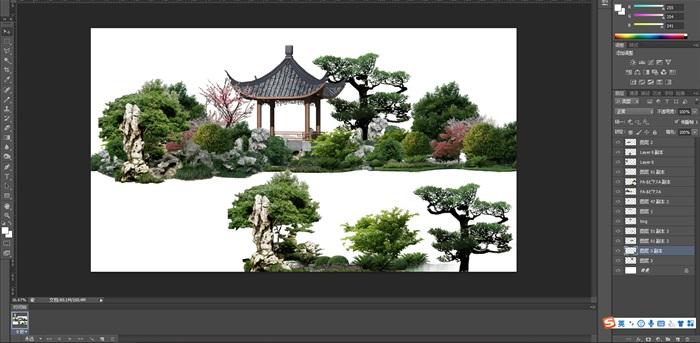 太湖石假山植物亭子組景后期制作素材psd(1)
