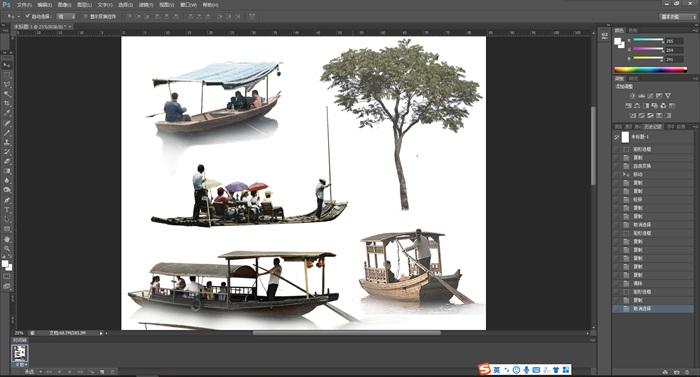 園林景觀中觀賞船古建景觀后期制作素材psd(2)