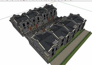 民国风格详细的多层别墅建筑设计SU(草图大师)模型
