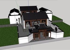 古典中式风格详细的祠堂建筑设计SU(草图大师)模型