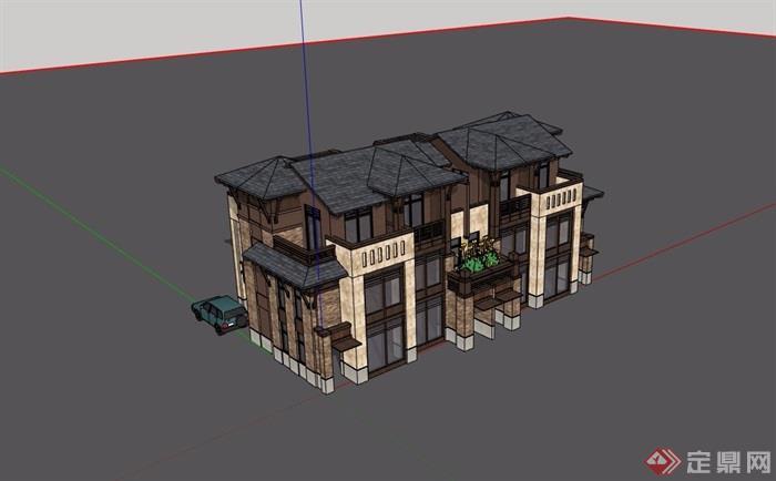 雙拼歐式風格詳細的完整在別墅設計su模型