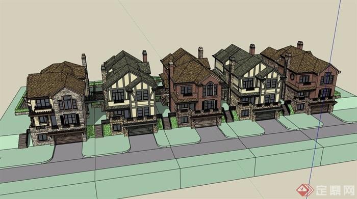 某小區完整詳細的住宅別墅su模型