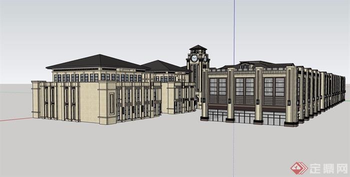 歐式風格詳細的完整商業多層詳細建筑設計su模型