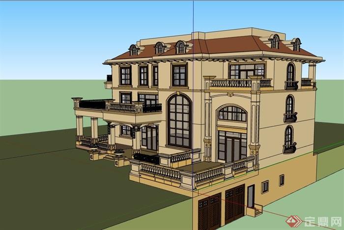 歐式風格詳細的三層住宅別墅設計su模型