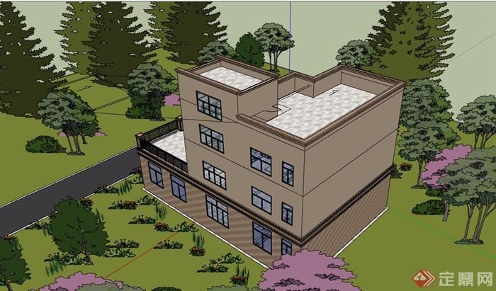 現代風格詳細的農村自建別墅設計su模型