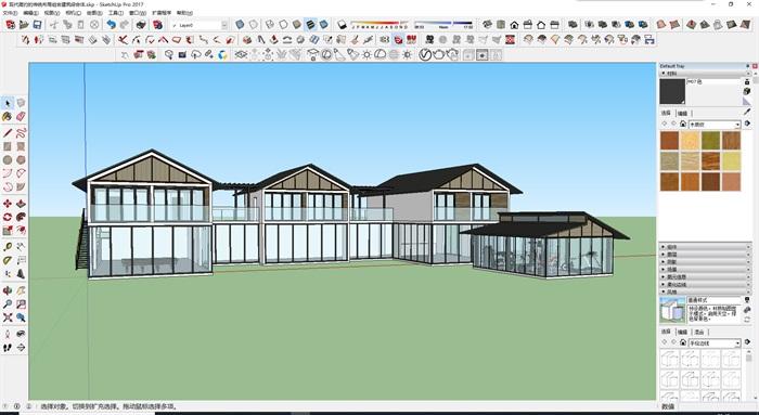 現代簡約的傳統布局組合建筑綜合體(1)