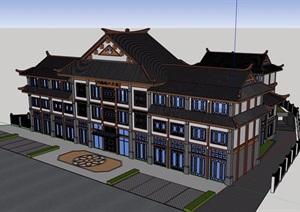 古典中式风格详细的文化馆建筑设计SU(草图大师)模型