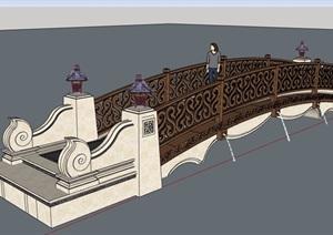 欧式风格详细的拱桥园桥素材设计SU(草图大师)模型