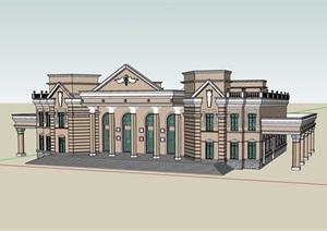 欧式风格两层文化博物馆建筑设计SU(草图大师)模型
