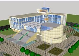 某现代风格详细的博物文化馆建筑设计SU(草图大师)模型