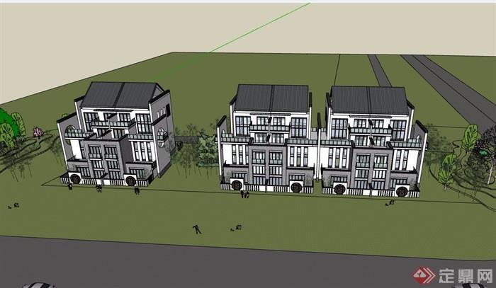 中式風格詳細的居住別墅建筑su模型