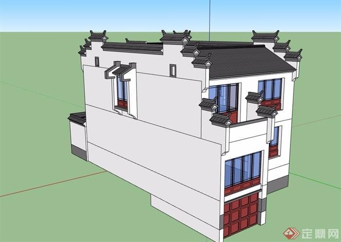 徽派中式風格兩層詳細的別墅建筑設計su模型