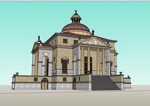 欧式风格详细的博物馆建筑设计SU(草图大师)模型