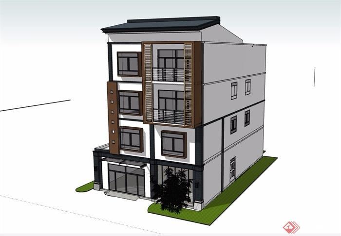 民居四層中式風格住宅建筑設計su模型