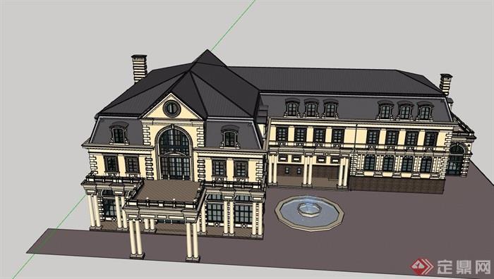 法式風格詳細的經典完整別墅設計su模型