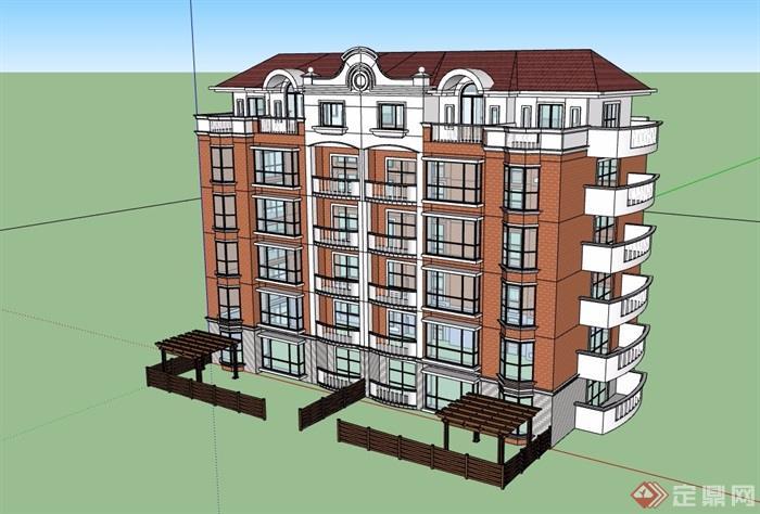 歐式風格詳細的多層住宅樓設計su模型