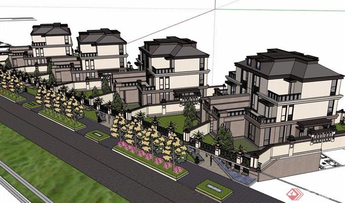 歐式風格詳細的完整雙拼別墅設計su模型