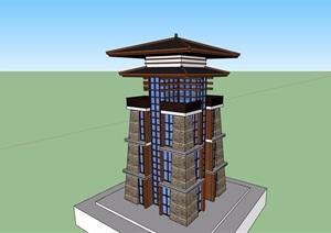 古典中式风格详细的完整塔素材设计SU(草图大师)模型