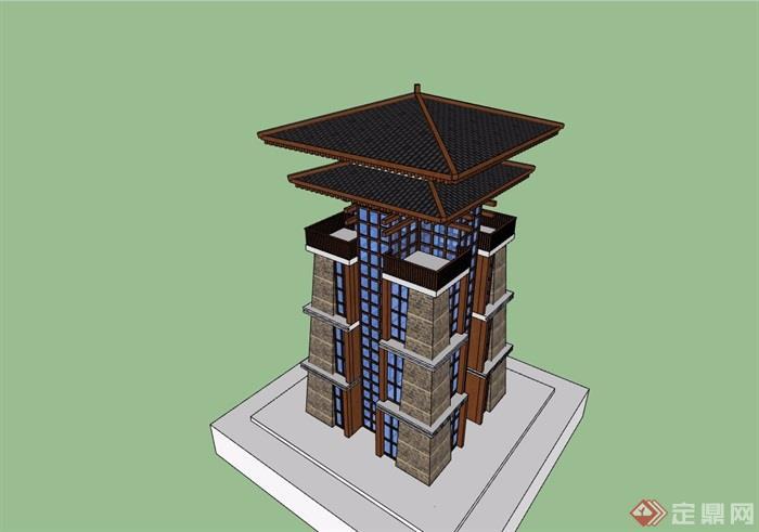 古典中式風格詳細的完整塔素材設計su模型