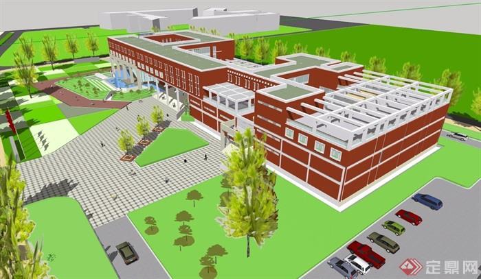 現代風格詳細的完整多層教育建筑樓設計su模型