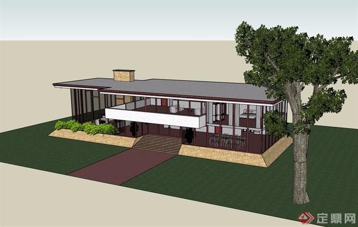 現代風格兩層詳細的住宅別墅su模型