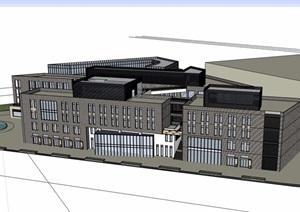 现代风格详细的多层文化馆建筑设计SU(草图大师)模型