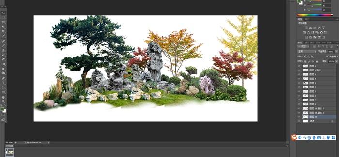 太湖石植物花卉組景景觀后期制作素材psd(1)