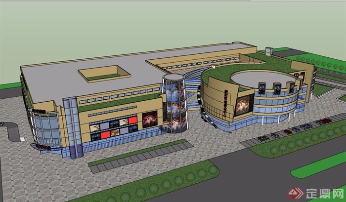 現代風格詳細的完整的商業中心多層建筑su模型