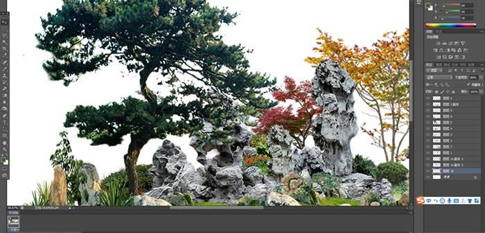 太湖石植物花卉組景景觀后期制作素材psd(2)