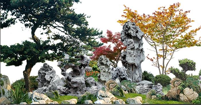 太湖石植物花卉組景景觀后期制作素材psd(4)