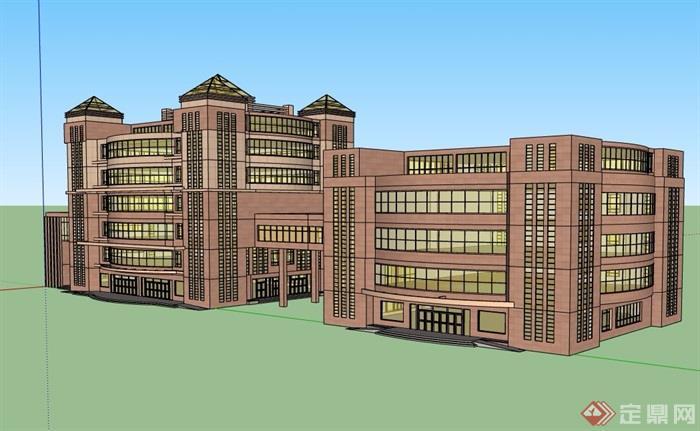 現代風格詳細的多層酒店完整設計su模型