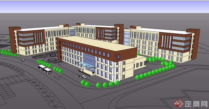 現代風格詳細的多層醫院建筑設計su模型