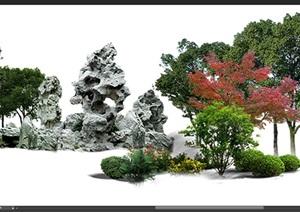 太湖石植物组景景观后期制作素材psd2