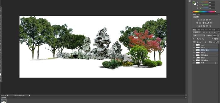 太湖石植物組景景觀后期制作素材psd2(2)