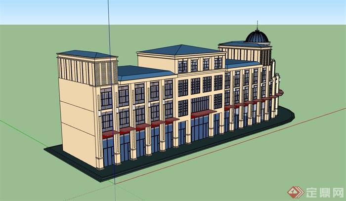 歐式風格詳細的三層商業樓設計su模型