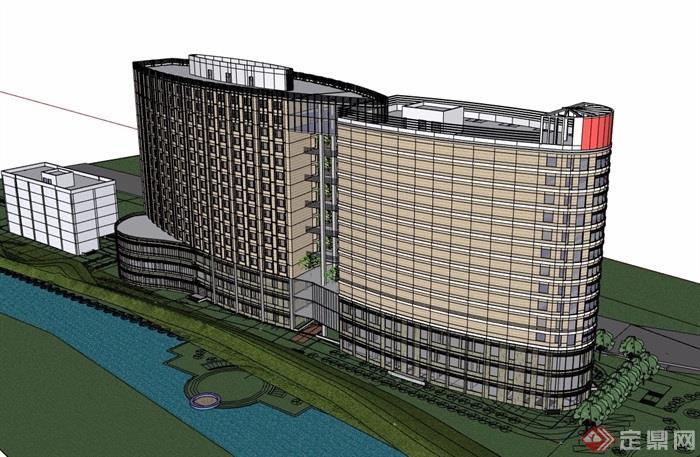 某現代風格詳細獨特的辦公建筑樓設計su模型