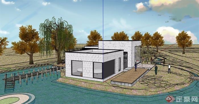 現代風格詳細的單層別墅詳細設計su模型