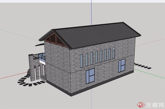 中式風格詳細的民居兩層詳細建筑設計su模型