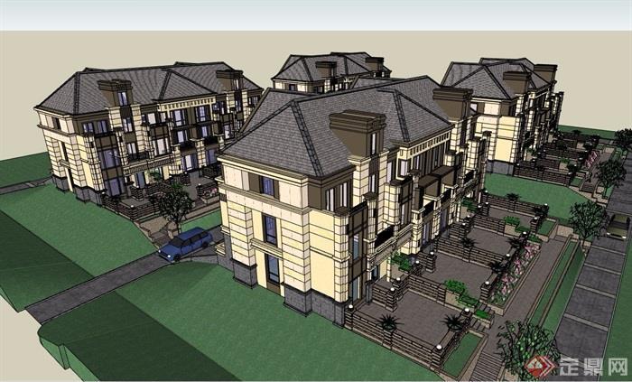 歐式風格詳細的經典雙拼別墅設計su模型