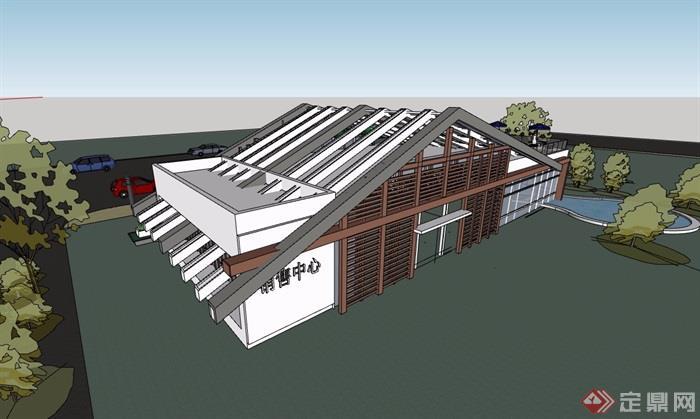某現代風格詳細的餐飲建筑樓設計su模型