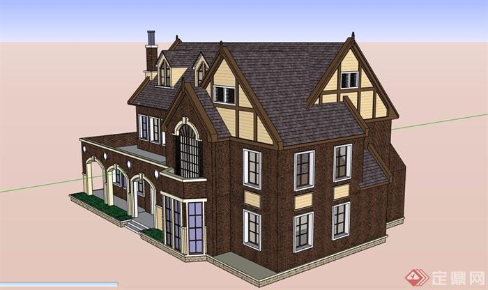 英式風格詳細的多層經典完整別墅設計su模型