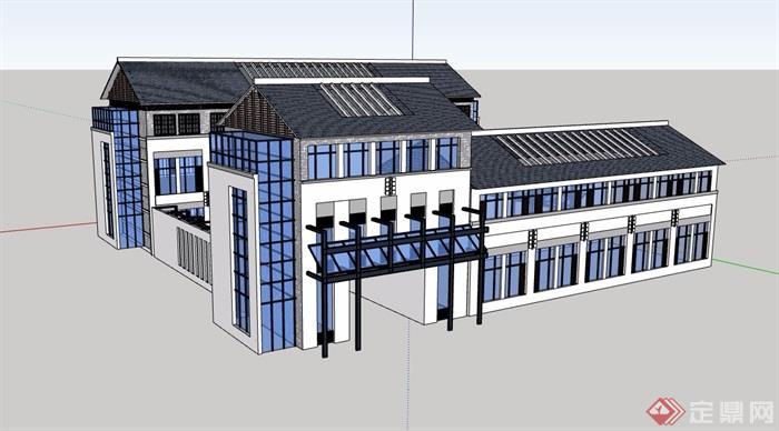 中式風格詳細的多層辦公樓建筑設計su模型