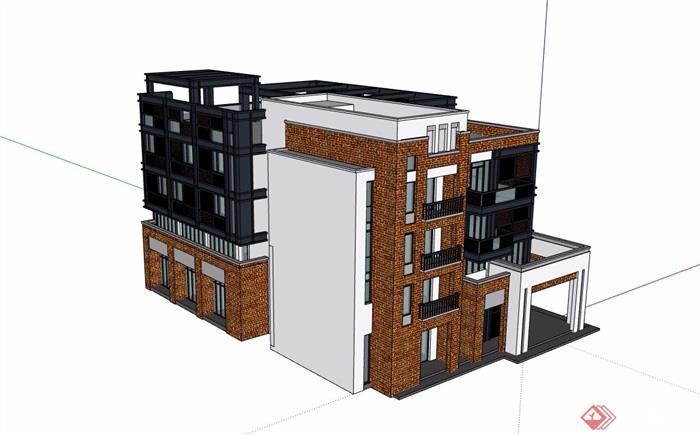 現代風格詳細的完整多層商業樓設計su模型