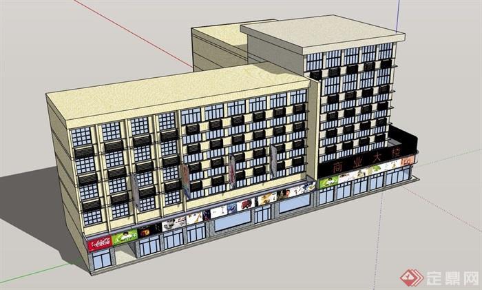 現代風格詳細的完整商業大樓建筑設計su模型