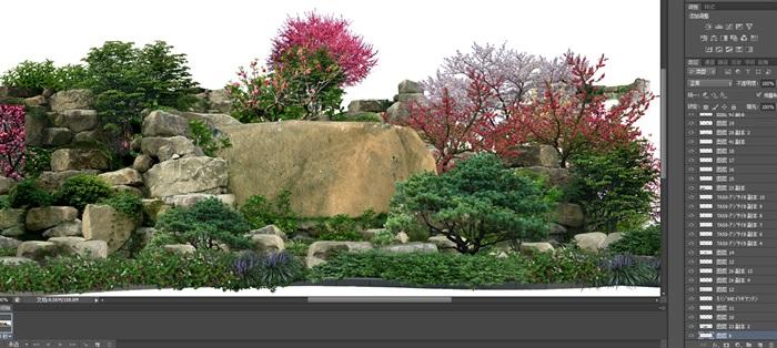 置石景觀組景后期制作素材psd(2)