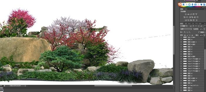 置石景觀組景后期制作素材psd(3)
