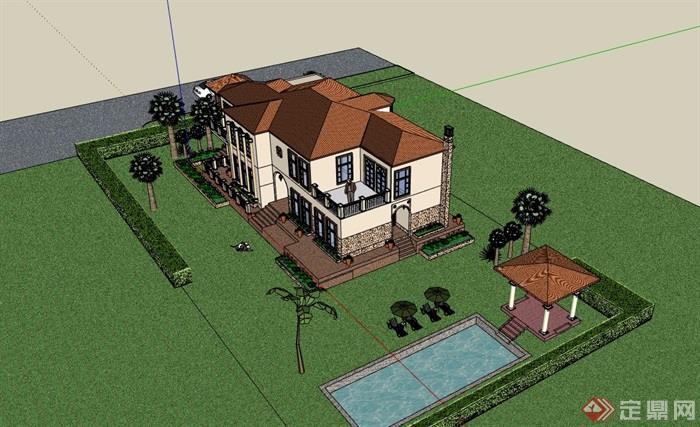 歐式風格詳細的整體完整住宅別墅設計su模型