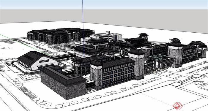 中式風格詳細的學校教育建筑樓設計su模型